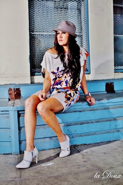 Pandora hat - ankle boots H&M boots - bijou dress