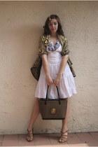 olive green Kenyan scarf - light brown Kenyan bag - white Macys dress - white Ta