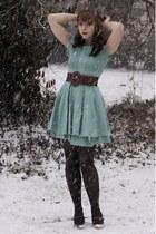 dark brown modcloth belt - dark brown Liz Claiborn shoes - aquamarine Ebay dress