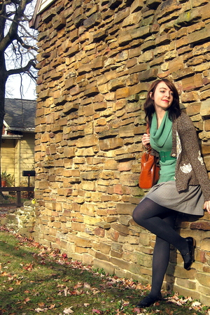 The Buckle sweater - thrifted blouse - modcloth belt - Forever 21 skirt - Target