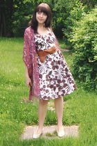 red delias scarf - white Macys dress - brown Wet Seal belt - white Vintage flats
