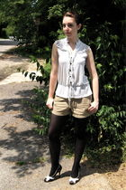white TJ Maxx blouse - beige JCrew shorts - black Target tights - black Cactus F