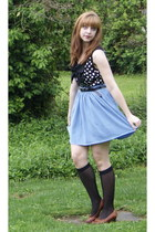black Target socks - black moms belt - sky blue American Apparel skirt - black p
