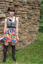 black whiteowl necklace - red modcloth dress - black Target socks - black Urban