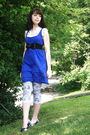 Blue-urban-outfitters-dress-white-tj-maxx-blouse-black-urban-outfitters-belt
