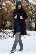 deep purple oversized sears cardigan - silver Steve Madden boots