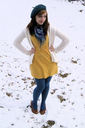 mustard polka dot sears dress - teal beret H&M hat - teal Macys tights