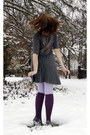 Violet-delias-cardigan-heather-gray-buffalo-exchange-dress-amethyst-modcloth