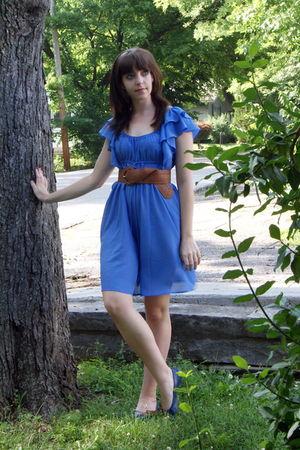 silver Urban Outfitters accessories - blue H&M dress - brown Wet Seal belt - blu