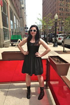 black Aldo boots - black modcloth dress - white Ray Ban sunglasses