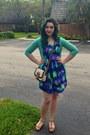 Deep-purple-modcloth-dress-beige-aldo-purse-silver-rinestoned-sunglasses