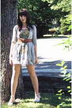 brown Wet Seal belt - white wedge sandal Macys shoes - gray Wet Seal dress