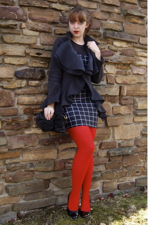 red We Love Colors tights - black thrifted shoes - black American Apparel dress