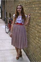 tan skirt - ruby red dress - ivory necklace - tawny heels