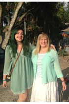 aquamarine modcloth dress - aquamarine liz claiborne blouse - white Macys skirt