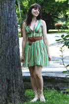 green gift from friend necklace - green modcloth dress - brown Wet Seal belt - b