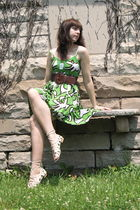 green pitaya dress - brown Cactus Flower belt - white gift from friend shirt - b