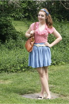 tawny modcloth bag - sky blue American Apparel skirt - ivory moms belt - light p