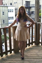 purple neiman marcus heels - ivory modcloth dress - ivory vintage belt