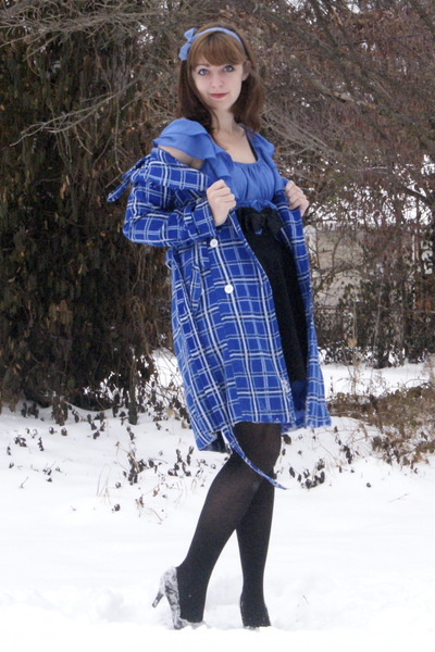 blue Charlotte Russe coat - periwinkle H&M dress - black Urban Outfitters belt -