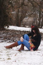 blue tights - brown Cathy Jean boots - red flowered modcloth dress