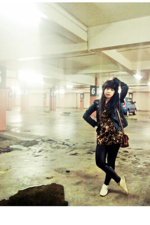 black rebelation jacket - my handmade blouse - Forever 21 leggings - in my shoes