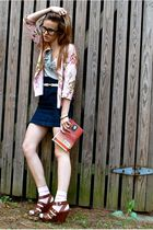 blue LF skirt - white Goodwill belt - green Jcrew shirt - pink cardigan - pink H