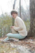 light blue madewell jeans - ivory maternity Old Navy sweater