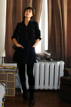 blue Maeve dress - black Industry boots - black French Connection purse