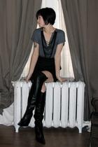 gray Blu Heaven dress - black Zara boots