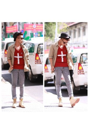 cream DR ecko shoes - heather gray london jeans - camel DKNY shirt - crimson top