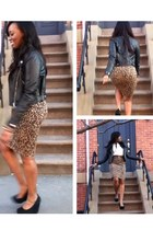 light orange leopard print asos skirt - black suede wedges Aldo shoes