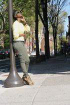 leopard Glaze boots - cable knit Ralph Lauren sweater - cargo JBrand pants