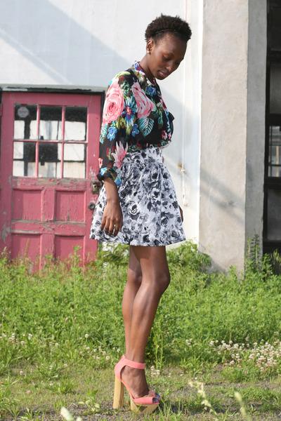 floral H&M skirt - floral H&M blouse - Cupid heels