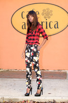 plaid Marshalls shirt - floral H&M pants - black Kelsi Dagger pumps