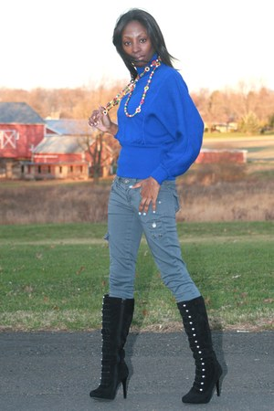 blue Valentino sweater - heather gray JBrand pants - black Anne Michelle boots