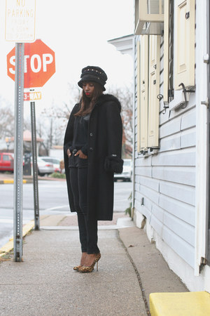 black DKNY coat - black Amy Downs hat - black 31 philip lim sweater