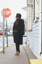 black DKNY coat - black Amy Downs hat - black 31 philip lim sweater