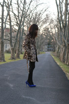 blue Newlook dress - leopard print GoJane jacket - blue Anne Michelle pumps