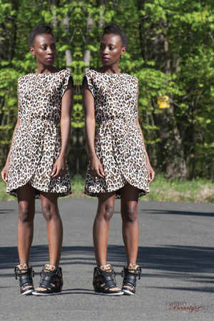 leopard print H&M dress - wedge Glaze sneakers