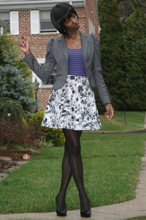 gray H&M skirt - gray H&M blazer - black Guess shoes - black Kmart tights