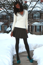 brown Orsay skirt - beige Annie Sez sweater - brown Express tights - GoJane shoe