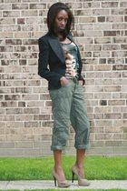 green H&M pants - black Newlook blazer - beige Cupid shoes