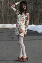 brown oxfords Marc Fisher shoes - floral sweater Misguided dress