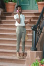 Ivory-h-m-top-olive-green-motivi-pants-spiked-posh-pumps