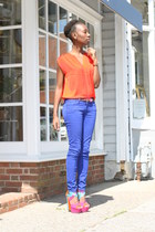 color blocked Liliana wedges - blue Charlotte Russe jeans