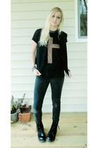 black boots - black jeans - black top - black handmade vest