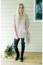 black diy slashed jeans - light pink sweater - ivory bag - black wedges