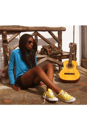 black shorts Zara shorts - Zara cardigan - yellow Converse sneakers