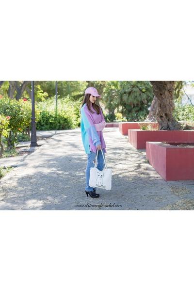 light purple Rosegal sweater - light pink cap Rosegal hat - white Rosegal  bag 4ee7fedba3a